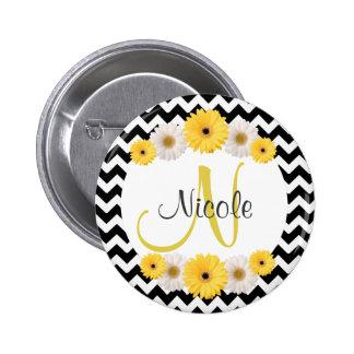 Monogram Personalized black white chevron Daisy 2 Inch Round Button