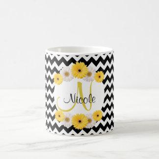 Monogram Personalized black white chevron Daisy Coffee Mug
