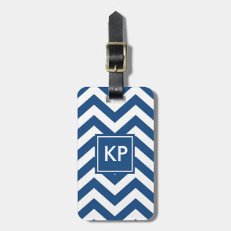 Monogram Personalized Blue Chevron Luggage Tag