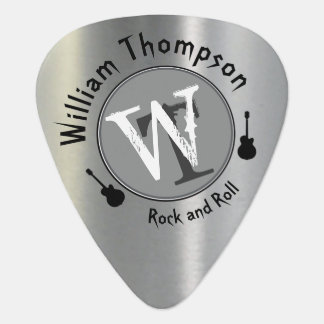 monogram - personalized faux silver guitar pick