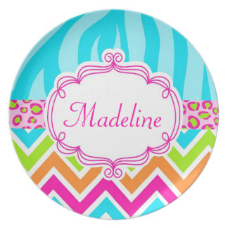 Monogram Personalized Girly Animal Print Plate
