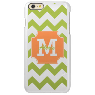 Monogram Personalized Green Orange Chevron