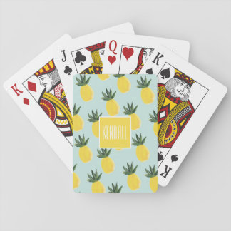 Monogram Personalized Pineapple Playing Cards