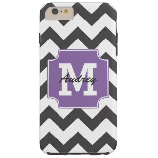 Monogram Personalized Purple Black Chevron Tough iPhone 6 Plus Case
