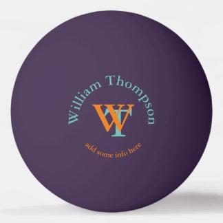 monogram - personalized purple ping pong ball