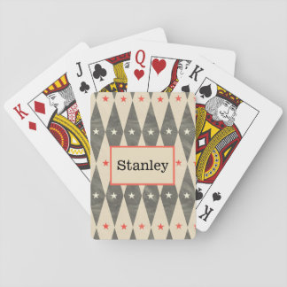 Monogram Personalized Red Black Poker Playing Card