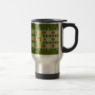Monogram personalized red green grey pattern travel mug