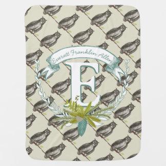 Monogram Personalized Vintage Owl Mint Baby Boy Baby Blanket