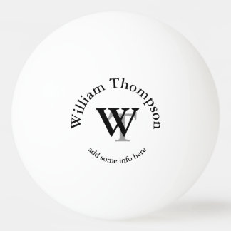 monogram . personalized white ping pong ball