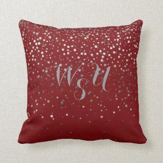Monogram Petite Gray Stars 16x16 Pillow-Crimson Throw Pillow