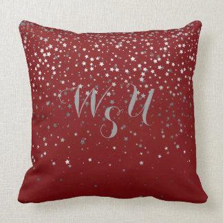 Monogram Petite Gray Stars 20x20 Pillow-Crimson Throw Pillow