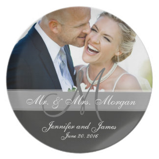 Monogram Photo Wedding Keepsake Plate | Grey