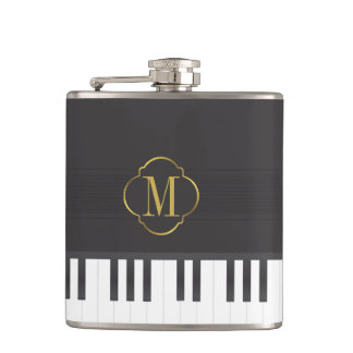 Monogram piano hip flask