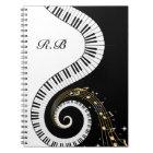 Monogram Piano Keys and  Musical Notes Notebook