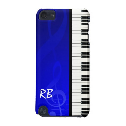 Monogram Piano Keys Blue effect musical notes iPod Touch (5th Generation) Case