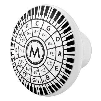 Monogram Piano Keys Circle of Fifths Ceramic Knob