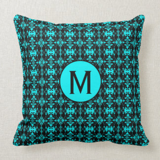Monogram Pillow Damask Design, Teal & Black