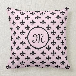 Monogram Pillow Fleur de Lis Pink & Black