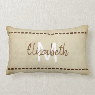 monogram pillow rustic chic style sepia brown