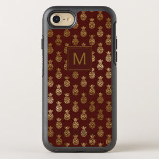 Monogram | Pineapple Gold Burgundy OtterBox Symmetry iPhone 8/7 Case