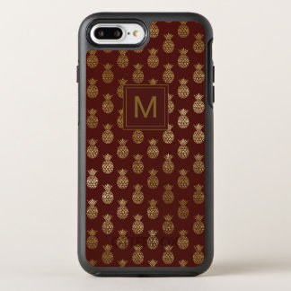Monogram | Pineapple Gold Burgundy OtterBox Symmetry iPhone 8 Plus/7 Plus Case