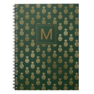Monogram | Pineapple Gold Dark Green Notebook