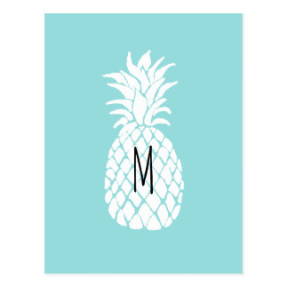 monogram pineapple graphic white on pastel blu postcard