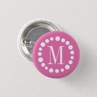 Monogram Pink 1 Inch Round Button