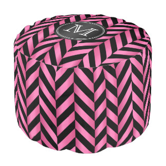 Monogram Pink and Black Chevron Stripes Pouf