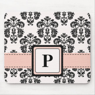 Monogram Pink and Black Damask Mouse Pad