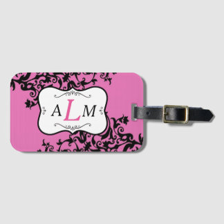 Monogram Pink and Black Luggage Tag