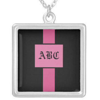 Monogram - Pink and Black - necklace
