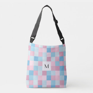 Monogram Pink and Blue Squares Cross Body Bag