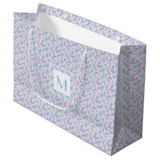 Monogram Pink and Blue Squares Large Gift Bag