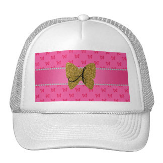 Monogram pink and gold butterfly hats