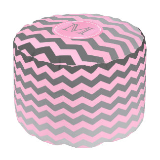 Monogram Pink and Gray Chevron Stripes Pouf