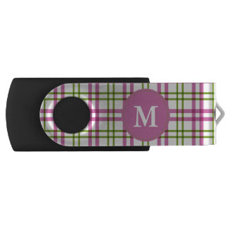 Monogram Pink and Green Tartan Pattern USB Flash Drive