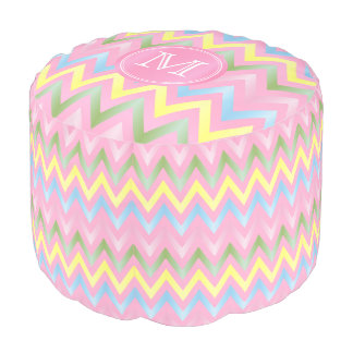 Monogram Pink and Pastel Chevron Stripes Pouf