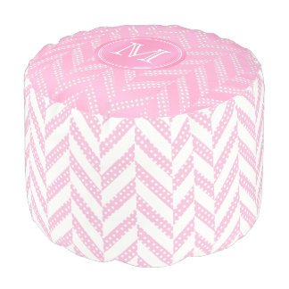 Monogram Pink and Pastel Herringbone Polka Dots Pouf