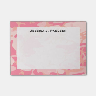 Monogram Pink and Peach Camouflage Post-it Notes