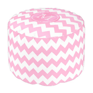 Monogram Pink and White Chevron Stripes Pouf
