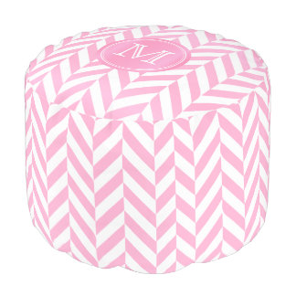 Monogram Pink and White Herringbone Design Pouf