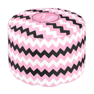 Monogram Pink, Black and White Chevron Pouf