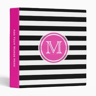 Monogram: Pink Black And White Striped Binder