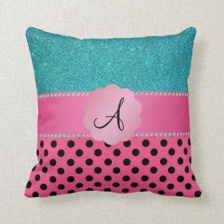 Monogram pink black polka dots turquoise glitter pillows