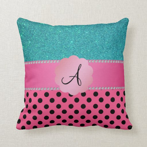 Monogram pink black polka dots turquoise glitter pillows