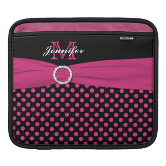 Monogram Pink, Black Polka Dots with FAUX Ribbon iPad Sleeve