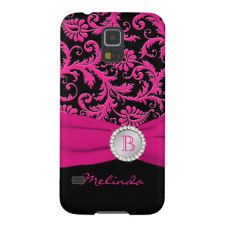 Monogram Pink Black Silver Damask Samsung Nexus Galaxy S5 Case