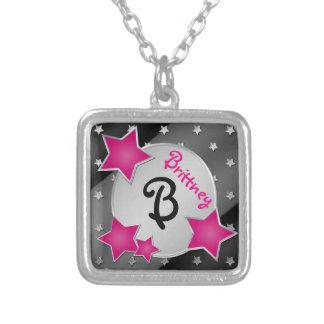 Monogram Pink Black Silver Stars Necklace