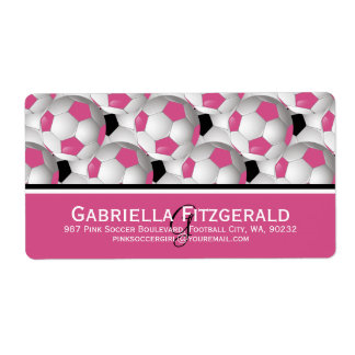 Monogram Pink Black Soccer Ball Pattern Shipping Label